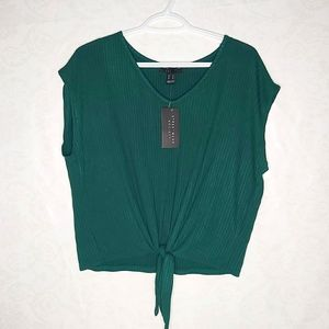 2/$15 Cropped Tie Front Ribbed Emerald Tee Top